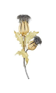 BUCCELLATI A Gold and Silver Thistle Brooch Designed as a spray of two thistles enhanced by textured sepals, stems, and extending three similarly textured leaves, mounted in 18K yellow gold and silver, length 3 1/2 inches.