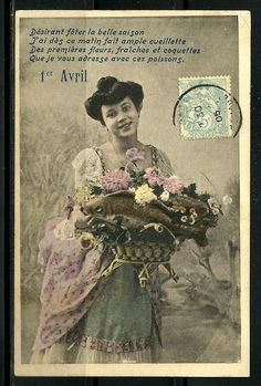 Edwardian French April 1st postcard from 1905. #vintage #April_Fools_Day #fish