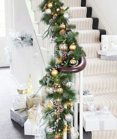 Grand Entrance    If you're hosting the holidays and are behind on the décor, focus on making your entryway shine. Add seasonal flair (lush green garland, ornaments, pinecones) to your stairwell and front foyer for a wow-worthy first impression