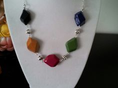 Polymer clay and metal beads necklace by Bhavna Mistry