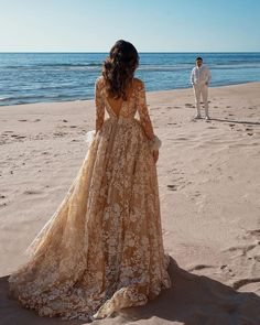 18 Gold Wedding Gowns For Bride Who Wants To Shine ❤ gold wedding gowns a line v back with long sleeves lace saidmhamad #weddingforward #wedding #bride #weddingoutfit #bridaloutfit #weddinggown