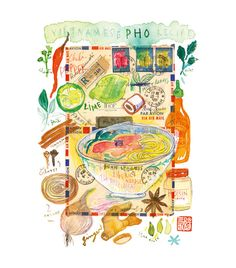 Title : Vietnamese PHO recipe Watercolor painting on vintage vietnamese envelope.    Archival giclee reproduction print.  Signed with pencil.