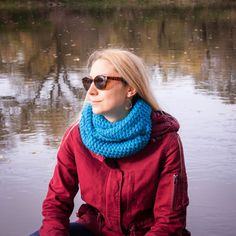 Turquoise Hand Crochet Neckwarmer / Turquoise Fall by RUKAMIshop