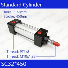 SC32*450 Free shipping Standard air cylinders valve 32mm bore 450mm stroke SC32-450 single rod double acting pneumatic cylinder. Yesterday's price: US $49.60 (41.06 EUR). Today's price: US $45.14 (37.37 EUR). Discount: 9%.