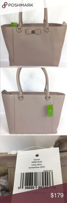 """Kate Spade Francis Renny Drive Tote Bag New, With Tags   Pretty and practical, the Renny Drive leather tote from kate spade new york offers ample shoulder straps for toting workweek essentials. Leather Double handles with 9"""" drop Top zip closure Exterior features gold-tone hardware and bow accent Interior features 1 zip pocket and 2 slip pockets 13"""" W x 11"""" H x 6-1/2"""" D kate spade Bags Totes"""