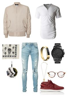 """Friday night"" by bashir-adekunle on Polyvore featuring Topman, LE3NO, AMIRI, adidas, FOSSIL, Fitbit, Versace, Ray-Ban, Fendi and Alexander McQueen"