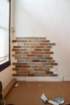 How to install brick veneer inside your home Accent Wall Ideas Home Decor Ideas Vintage Revivals House Design, Basement Remodeling, Vintage House, Brick Veneer Wall, Home Remodeling, Home Diy, Brick, Fake Brick Wall, Home Decor