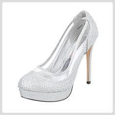 High Heel Damen-Schuhe Plateau Pfennig-/Stilettoabsatz High Heels Ital-Design Pumps Silber, Gr 38, 1278-A25- - Damen pumps (*Partner-Link)