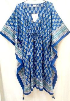 Rich Lapis Blue Boho chic Anokhi Booti Leaf Hand block print Indian cotton…