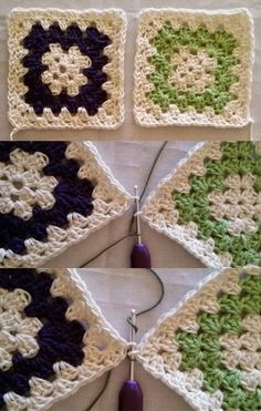 Joining Crochet Squares, Crochet Saco, Bed Spreads, Duvet, Cross Stitch, Diy Crafts, Blanket, Knitting, Kitchen Playsets