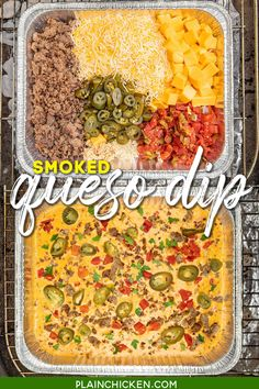 Smoked Queso Dip - a kicked up version of your favorite cheese dip with TONS of great flavor. Creamy cheese dip loaded with sausage, spicy jalapeños, and a delicious smoky flavor from cooking on the grill. Great dip for cookouts, camping, parties, and tailgating in the Fall. #dip #velveeta #queso #traeger #biggreenegg #smoked #camping Traeger Recipes, Grilling Recipes, Tailgating Recipes, Crockpot Recipes, Healthy Recipes, Easy Dinner Recipes, Appetizer Recipes, Bread Appetizers, Yummy Appetizers