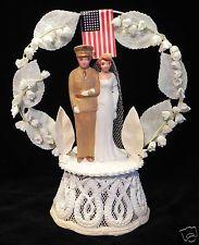 VTG Wedding Cake Topper - 1940's MILITARY CHALKWARE - Lily of Valley Arbor