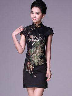 Black Short Cheongsam / Qipao / Chinese Evening Dress