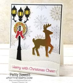 Christmas Lamppost card idea featuring Stampin' UP! holiday catalog Year of Cheer and Christmas Around the World paper, by Patty Bennett 2017 Homemade Christmas Cards, Christmas Cards To Make, Xmas Cards, Homemade Cards, Holiday Cards, Christmas Lamp Post, Christmas Deer, Handmade Christmas, Merry Christmas Wishes