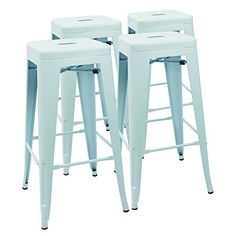 Devoko Metal Bar Stool 30 Tolix Style INDOOR/OUTDOOR Barstool Modern Industrial Backless Light Weight Bar Stools With Square Seat Set of 4 Dream Blue >>> Find out more about the great product at the image link. (This is an affiliate link) Cheap Bar Stools, Bar Table And Stools, Pub Table Sets, Metal Bar Stools, Modern Bar Stools, Bar Chairs, Bar Tables, Room Chairs, Outdoor Patio Bar Sets