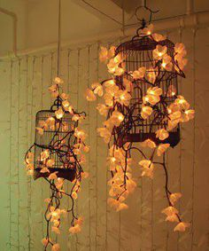 the idea of hanging bird cages.but maybe drape moss of some kind of greenery for his enchanted forest theme?Love the idea of hanging bird cages.but maybe drape moss of some kind of greenery for his enchanted forest theme? Enchanted Forest Theme, Flower Lights, Marquee Wedding, Bird Cages, Home And Deco, Wedding Decorations, Wedding Ideas, Wedding Photos, Wedding Inspiration