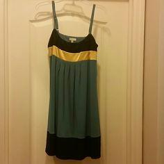Size 6 Beautiful Dress Blue, Yellow and Black Cocktail Dress Sean Jhon Dresses Midi