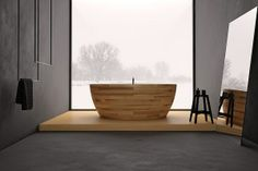 Bathroom, Good Looking Modern Wooden Bathtub Design Ideas Gorgeous Munai Bathtub Bay Window Grey Flooring Grey Wall Mirror Snow Season Black. Minimalist Room, Minimalist Bathroom, Grey Wall Mirrors, Wood Bathtub, Freestanding Bathtub, Bathtub Shower, Wood Tub, Teak Wood, Window Over Sink