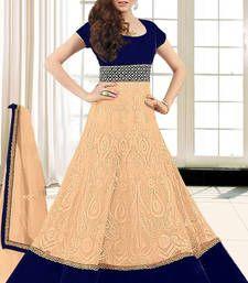 Buy Cream net embroidered semi stitched salwar with dupatta Online