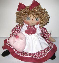 "Primitive Raggedy Doll ""Belinda"" Checkerboard Apron Heart Ploa Hafair | eBay"