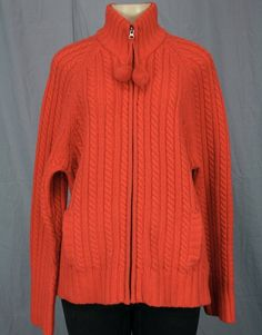 GAP Zip-front Cardigan Lambswool Cable Knit Sweater Pom Pom Coral Pink Sz L XL   eBay