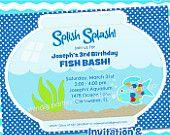 Fish Party Invitation - Rainbow Fish, Ocean, Sea Life by Amanda's Parties TO GO