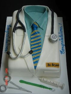 Doctor cake with badge...make this for Ryan's white coat ceremony
