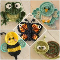 PURCHASED pattern - Crochet - Crochet Garden Friends - Bumble Bee - Frog - Bird - Snail - Butterfly - Crochet Appliqués ~ BEGINNER to intermediate levels ~ about tall but can easily be adjusted by changing hook size.~ add to a blanket, hat, scarf, etc. Motifs D'appliques, Crochet Motifs, Tunisian Crochet, Crochet Stitches, Crochet Appliques, Crochet Bee Applique, Crochet Butterfly Free Pattern, Owl Crochet Patterns, Pattern Flower
