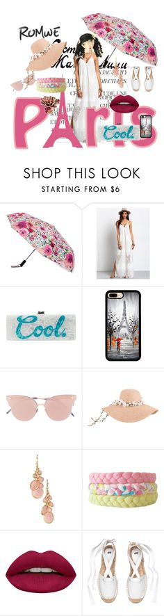 """""""Walking in the rain in Paris   Romwe- white maxi dress"""" by bluehatter ❤ liked on Polyvore featuring Kate Spade, Edie Parker, So.Ya, Avon, Passionata and Huda Beauty"""