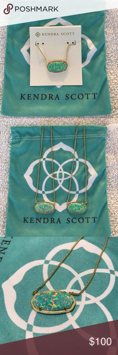 KENDRA SCOTT DELANEY NECKLACE AQUA OPAL CUSTOM MADE- This stone is not available in this necklace in store Delaney Adjustable Necklace  Gold/Aqua Kyocera Opal No scratch marks or marks on prongs Kendra Scott Jewelry Necklaces