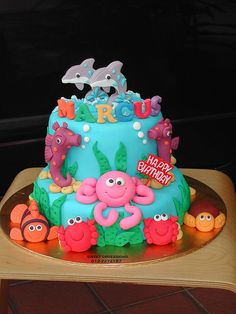 Under the Sea Cake coral reef fish Fondant Cakes, Cupcake Cakes, Ocean Cakes, Mermaid Cakes, Cake Board, Novelty Cakes, Girl Cakes, Fancy Cakes, Love Cake