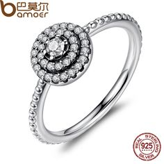 BAMOER 3 Size 925 Sterling Silver Round Shape Radiant Elegance, Clear CZ Flower Finger Rings for Women Ring Jewelry PA7178-in Rings from Jewelry & Accessories on Aliexpress.com | Alibaba Group