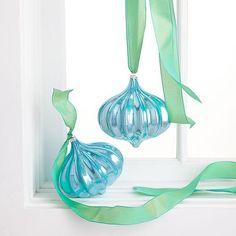 Wisteria - Holiday - Holiday Decor - Trim a Tree -  Blue Urchin Ornaments - Set of 4 - $39.00