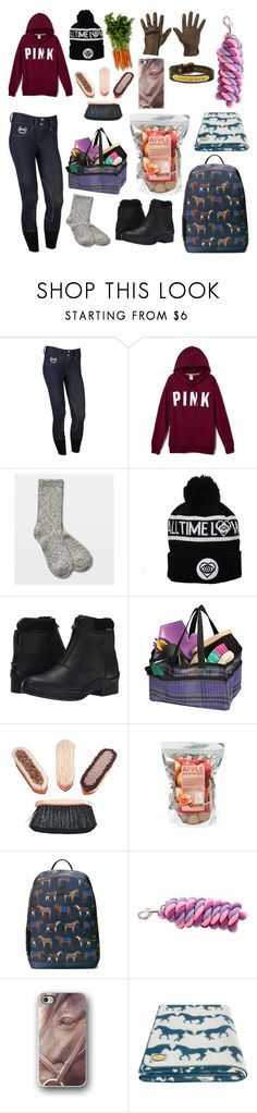 """""""Chillin at the barn with the horses"""" by perfeqequestrian ❤ liked on Polyvore featuring TNA, Ariat, Gucci and Anorak"""