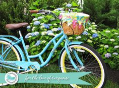 Blue Sky Confections: For The Love of Turquoise ~ sweet bicycle basket liner