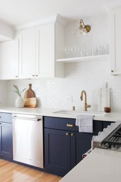 "Bang for your buck. To keep remodels inexpensive, I like to focus our dollars on the finishes with the biggest impact. I offset these larger expenses, by using budget hardware, existing floors, butcher block countertops, and stock cabinets. I don't always stick to this equation, but it's a good rule of thumb for budget-friendly renovations.  ""Over the years I've learned to splurge on sconce lighting, appliances, higher-quality paint, and tiles."""