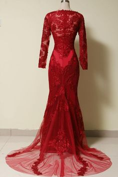 Elegant Long Sleeves Red Lace Mermaid Prom Dress 2015, Party Dress,Evening Dress 2016 on Luulla
