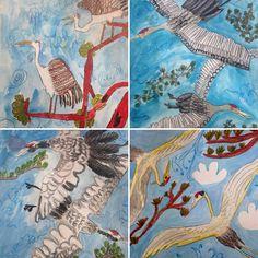 ART FOR KIDS WELLINGTON NZ STUNNING CRANE PAINTINGS Kid Art, Art For Kids, School Holiday Programs, Programming For Kids, Art Academy, Art Programs, School Holidays, Crane, New Zealand