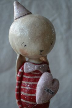 Folk Art Paperclay Large Valentine Bunny boy w/ by apinchofprim, $75.00