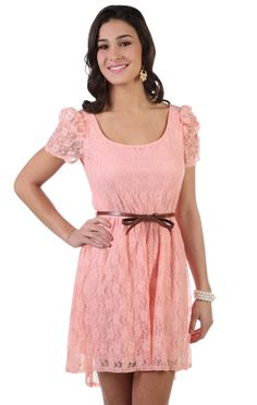 $32.50 Deb - short sleeve lace high low dress with belt