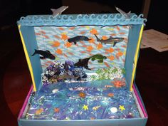 Shoebox habitat - ocean habitat   All of my material was purchased at Michael's School Projects, Projects For Kids, Project Ideas, School Ideas, Diaroma Ideas, Craft Ideas, Shoe Box Diorama, Ocean Diorama, Subscription Boxes For Girls