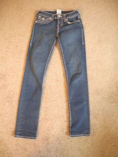 Girls True Religion Pick stitch Julie Skinny Pink Super T Jeans 12 $150 MINT