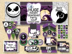 BABY SHOWER Nightmare Before Christmas, Printable Party Pack, Fall Printable, Instant Download, Jack Skellington, Halloween printable by MadPhotoge on Etsy