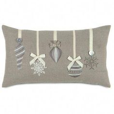 Eastern Accents Dreaming of a White Christmas Glistening Ornaments Lumbar Pillow Diy Christmas Decorations, Christmas Projects, Christmas Crafts, Christmas Ornaments, Christmas Makes, White Christmas, Christmas Colors, Eastern Accents, Sewing Pillows