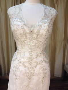 Intricate beading and embroidery on this Christina Rossi gown Lace Wedding, Wedding Dresses, News Design, Beading, Gowns, Embroidery, Bridal, How To Wear, Fashion
