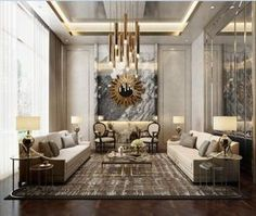 cool 48 Stylish Gold Living Room Design Ideas You Will Love Luxury Home Decor, Luxury Interior Design, Luxury Homes, Living Room Paint, Living Room Interior, Living Room Decor, Living Rooms, Apartment Living, Plafond Design