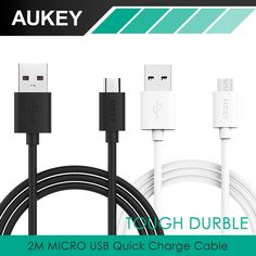 Aukey 2 m micro usb cable 범용 빠른 충전 케이블 충전 어댑터 대한 samsung galaxy s6 7 s5 sony htc xiaomi 스마트 폰 등