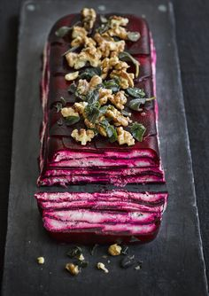 Try our vegetable terrine recipe with beetroot and goat's cheese. Use our easy step by step picture guide to make this vegetarian dinner party dish dinner party appetizers Beetroot and goat's cheese terrine Vegetarian Dinners, Vegetarian Recipes, Cooking Recipes, Vegetarian Buffet, Vegetarian Starters, Meat Recipes, Vegetarian Canapes, Healthy Starters, Crowd Recipes