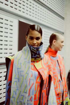Layers of ribbed print backstage at Peter Pilotto AW14 LFW. More images here: http://www.dazeddigital.com/fashion/article/18897/1/peter-pilotto-aw14
