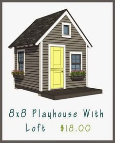With the right plans, building a kid's playhouse can be just as much fun as enjoying the final product. Here you will find everything you need to get your playhouse project started. Outside Playhouse, Build A Playhouse, Wooden Playhouse, Girls Playhouse, Shed Floor Plans, Shed Plans, Loft Plan, Building A Shed, Woodworking Projects Plans